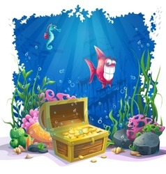 Underwater world with fish and gold chest vector image