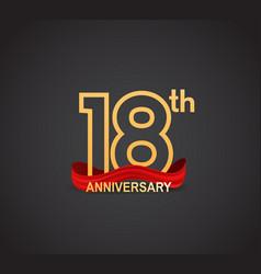 18 anniversary logotype design with line golden vector