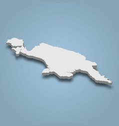 3d isometric map papua is an island vector