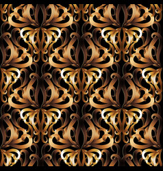 3d ornate gold damask seamless pattern vector image