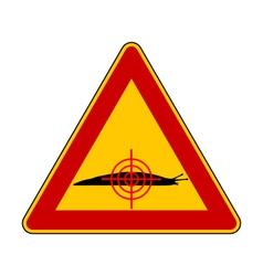 Aim at slugs warning sign vector image