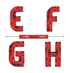 alphabet typography font red machinery style in a vector image
