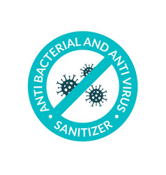 Antibacterial covid sign icon hand sanitizer gel vector