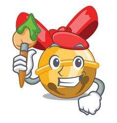Artist jingle bells christmas isolated on mascot vector