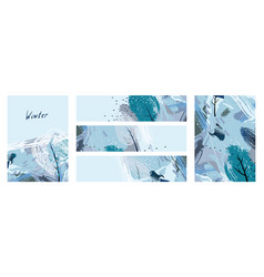 Artistic creative five season cards with hand vector