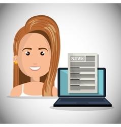 Avatar woman news icon vector