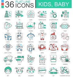 Baby kids flat line outline icons for apps vector