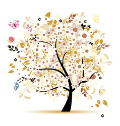Beautiful floral tree for your design vector image