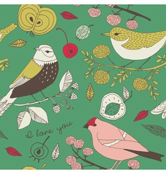 birds fruit and leaves wallpaper vector image
