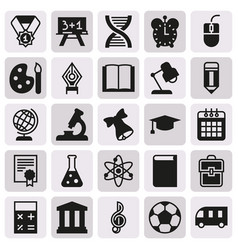 Black simple icon collection school education vector