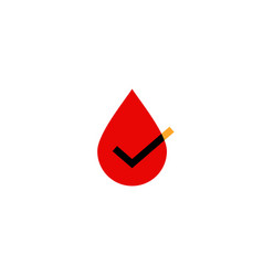 blood drop check logo icon vector image