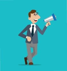 businessman with a megaphone vector image