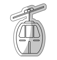 Cable car transport cut line vector