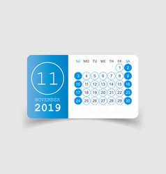 Calendar november 2019 year in paper sticker with vector