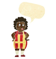 Cartoon woman in kitchen apron with speech bubble vector