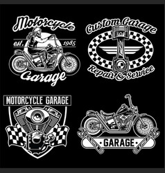 Chopper motorcycle black white set vector