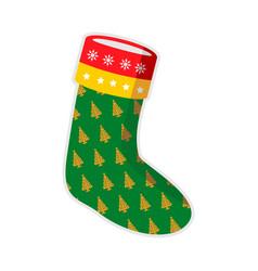 Christmas green sock trees vector