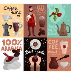 Coffee production flat cards vector