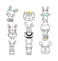 collection children doodles and sketches vector image