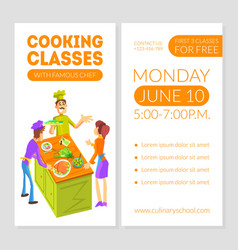 cooking classes card template with place for text vector image