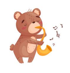 Cute bear with a saxophone on vector