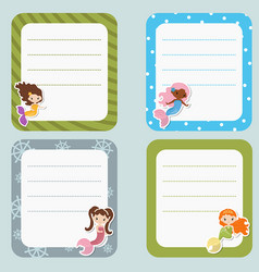 Cute cards or stickers with mermaids theme design vector