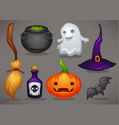 cute cartoon halloween game icons and objects for vector image
