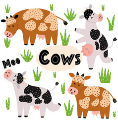 cute cows set clipart collection with funny farm vector image