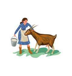 Cute farmer woman in blue dress is feed goat vector