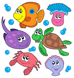 cute marine animals collection vector image