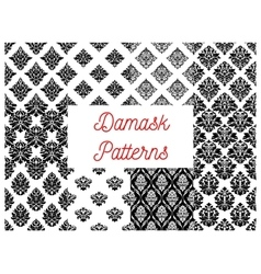 Damask ornate seamless patterns set vector image