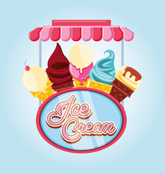 delicious ice cream cones vector image