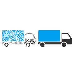 delivery car collage of repair tools vector image