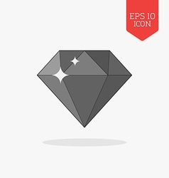 Diamond gem icon Flat design gray color symbol vector image