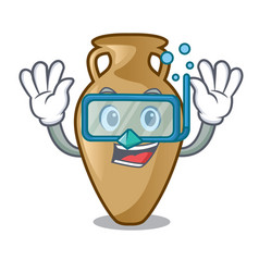 diving amphora character cartoon style vector image