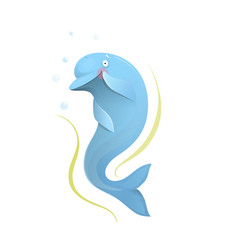 dolphin romantic sea mammal character for kids vector image
