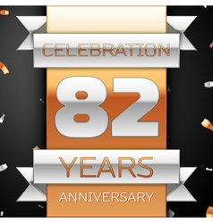 Eighty two years anniversary celebration golden vector