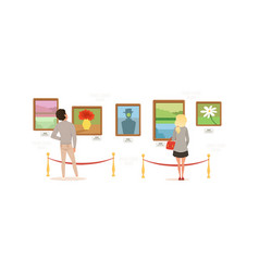 Exhibition visitors viewing paintings on wall vector