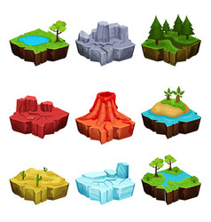 Fantastic islands for game design set desert vector