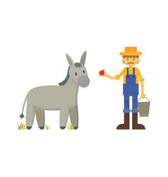 Farmer feeding donkey with apple vector