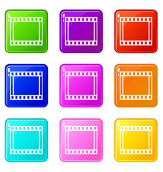 Film with frames movie icons 9 set vector