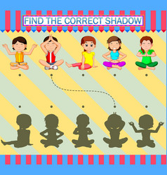 Find correct shadow cartoon woman sporty with vector