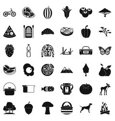 forest rest icons set simple style vector image