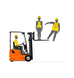 Forklift lifting people vector