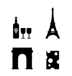 French icons set wine eiffel tower triumphal arch vector