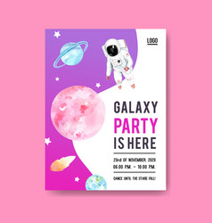 Galaxy poster design with stars asteroid vector