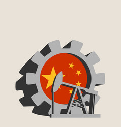Gear with oil pump textured by china flag vector