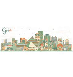 Giza egypt city skyline with color buildings vector