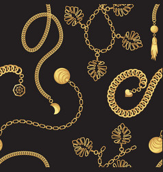 Gold chain belt pattern fashion design vector