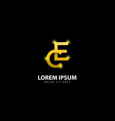 Gold letter e logo ec letter design with golden vector